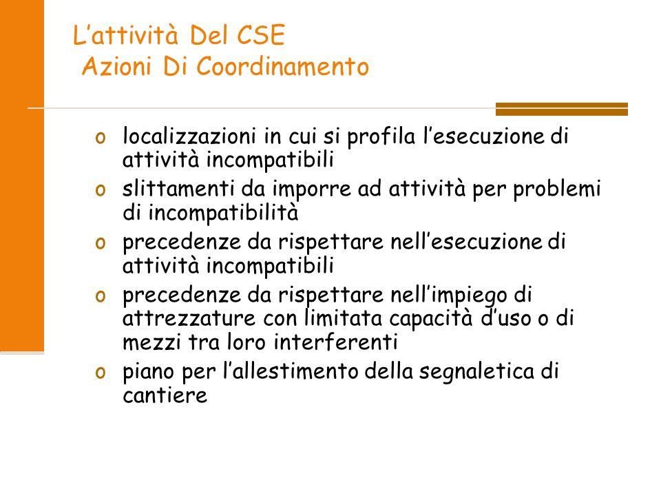 L'attività Del CSE Azioni Di Coordinamento olocalizzazioni in cui si profila l'esecuzione di attività incompatibili oslittamenti da imporre ad attivit