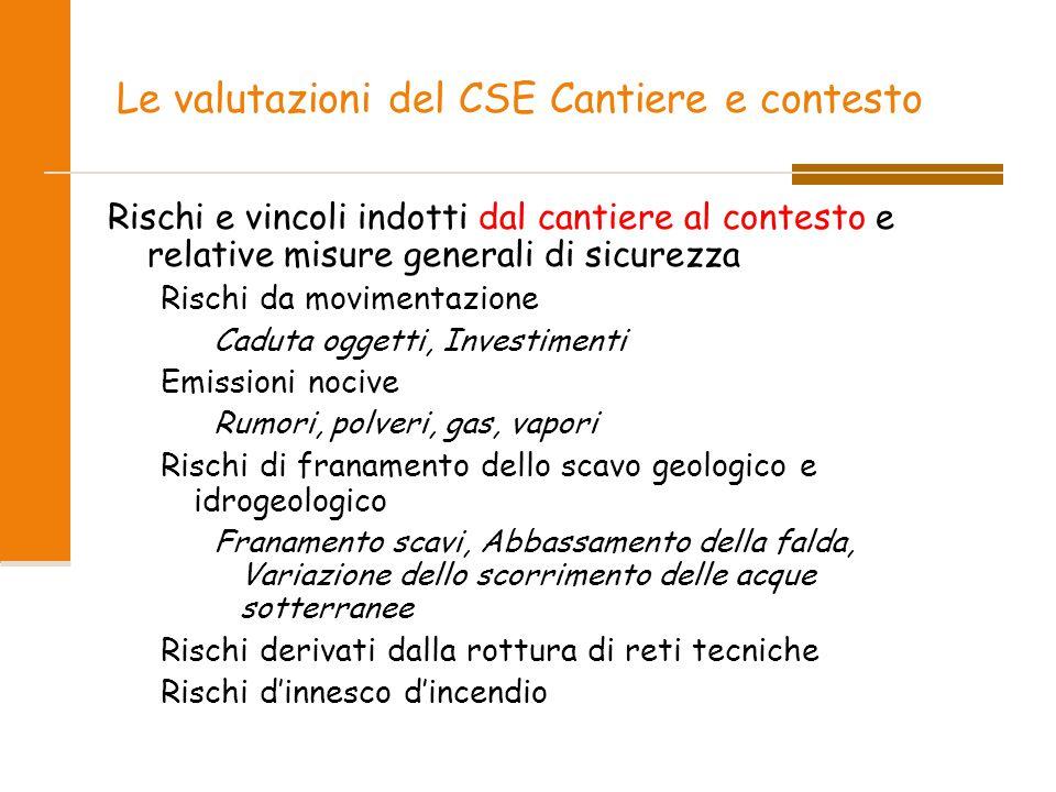 Le valutazioni del CSE Cantiere e contesto Rischi e vincoli indotti dal cantiere al contesto e relative misure generali di sicurezza Rischi da movimen