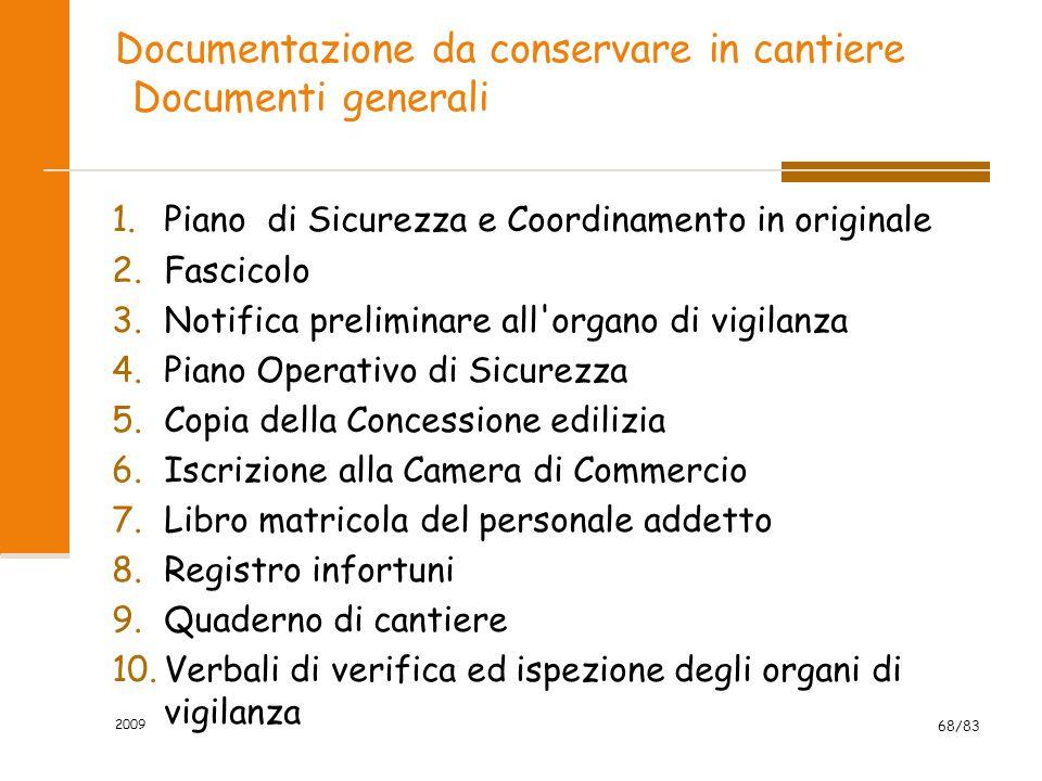 Documentazione da conservare in cantiere Documenti generali 1.Piano di Sicurezza e Coordinamento in originale 2.Fascicolo 3.Notifica preliminare all'o