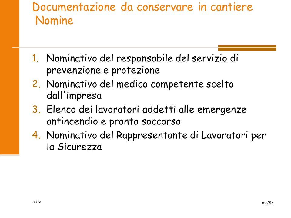 Documentazione da conservare in cantiere Nomine 1.Nominativo del responsabile del servizio di prevenzione e protezione 2.Nominativo del medico compete
