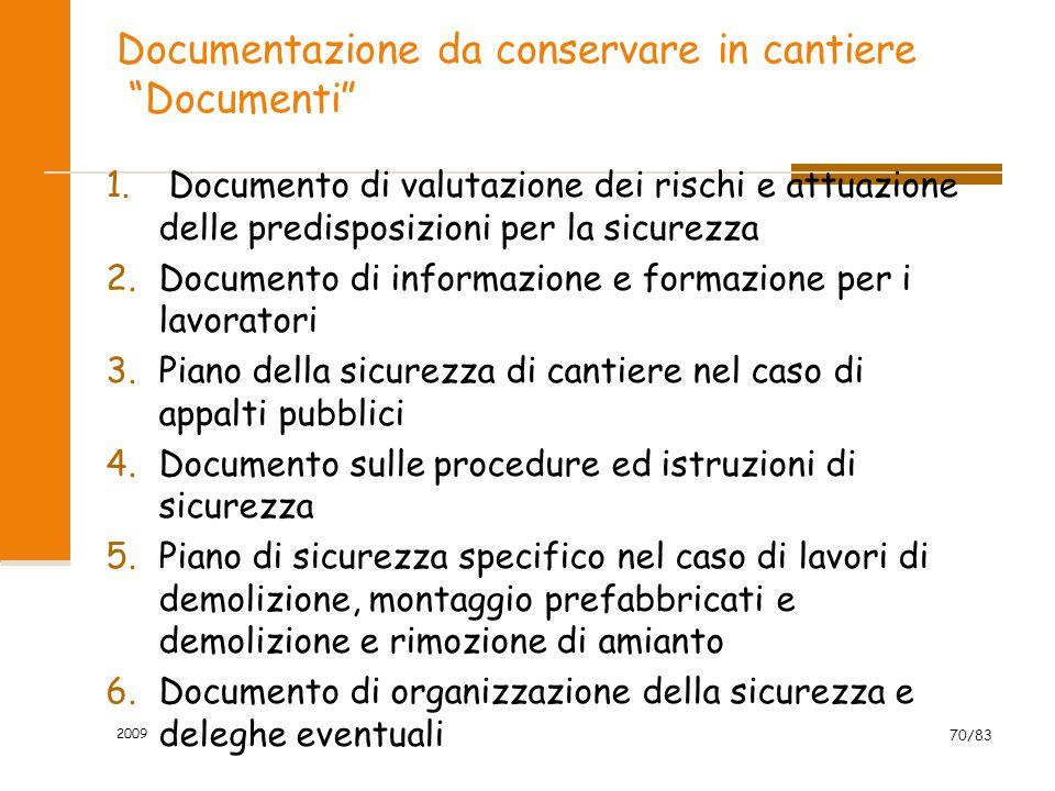 """Documentazione da conservare in cantiere """"Documenti"""" 1. Documento di valutazione dei rischi e attuazione delle predisposizioni per la sicurezza 2.Docu"""
