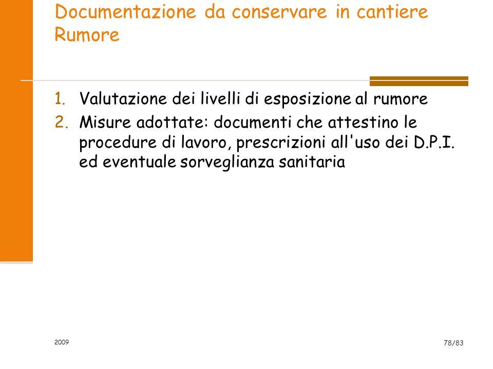 Documentazione da conservare in cantiere Rumore 1.Valutazione dei livelli di esposizione al rumore 2.Misure adottate: documenti che attestino le procedure di lavoro, prescrizioni all uso dei D.P.I.