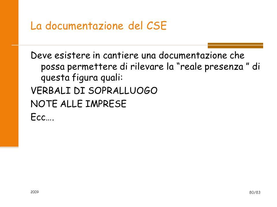 La documentazione del CSE Deve esistere in cantiere una documentazione che possa permettere di rilevare la reale presenza di questa figura quali: VERBALI DI SOPRALLUOGO NOTE ALLE IMPRESE Ecc….