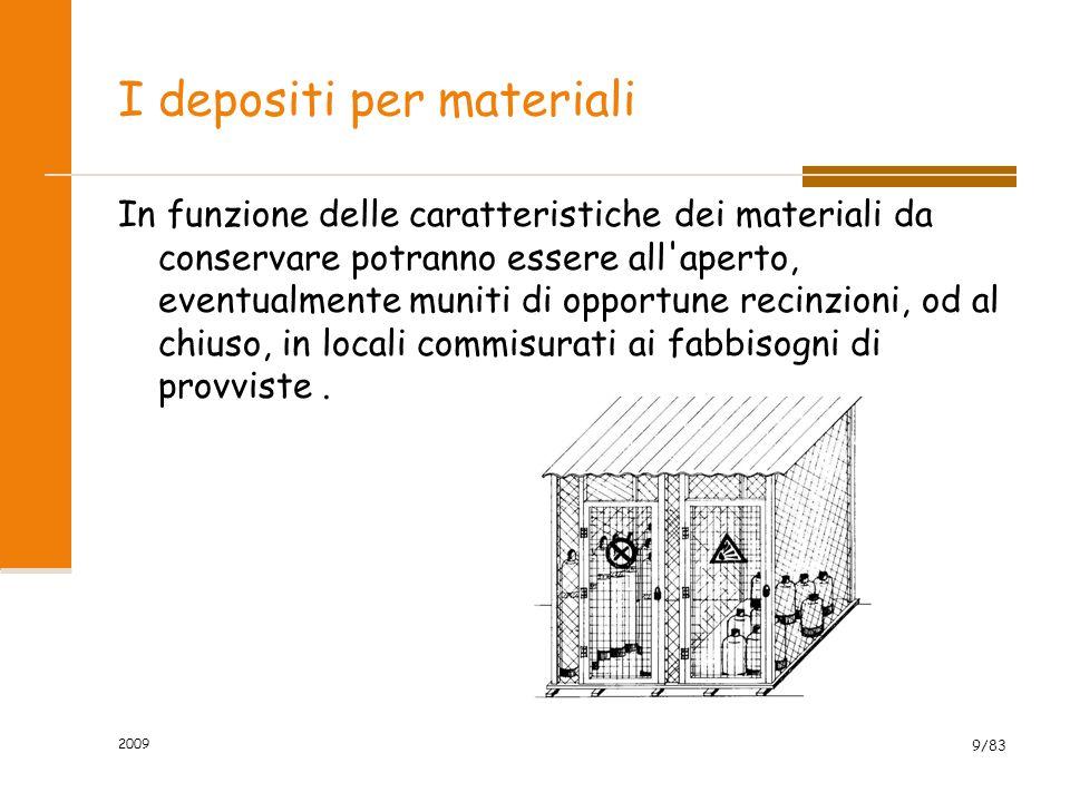 I depositi per materiali In funzione delle caratteristiche dei materiali da conservare potranno essere all'aperto, eventualmente muniti di opportune r