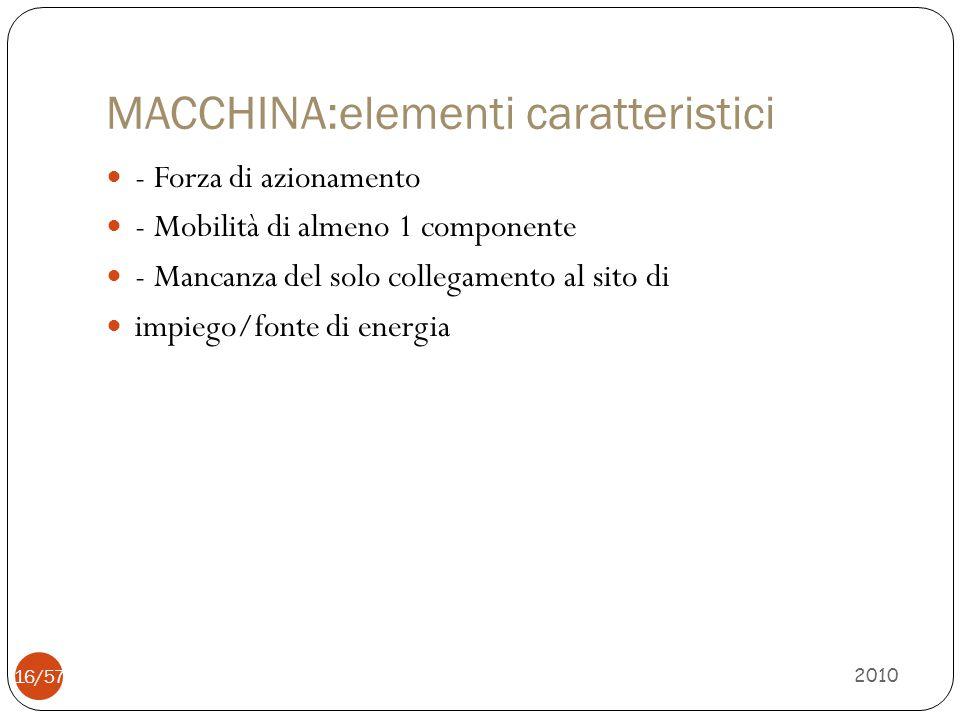 MACCHINA:elementi caratteristici - Forza di azionamento - Mobilità di almeno 1 componente - Mancanza del solo collegamento al sito di impiego/fonte di