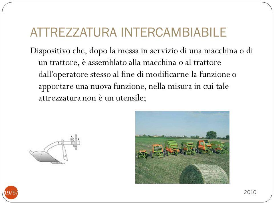 ATTREZZATURA INTERCAMBIABILE Dispositivo che, dopo la messa in servizio di una macchina o di un trattore, è assemblato alla macchina o al trattore dal