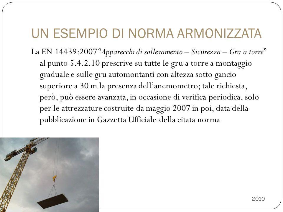 """UN ESEMPIO DI NORMA ARMONIZZATA La EN 14439:2007 """"Apparecchi di sollevamento – Sicurezza – Gru a torre"""" al punto 5.4.2.10 prescrive su tutte le gru a"""