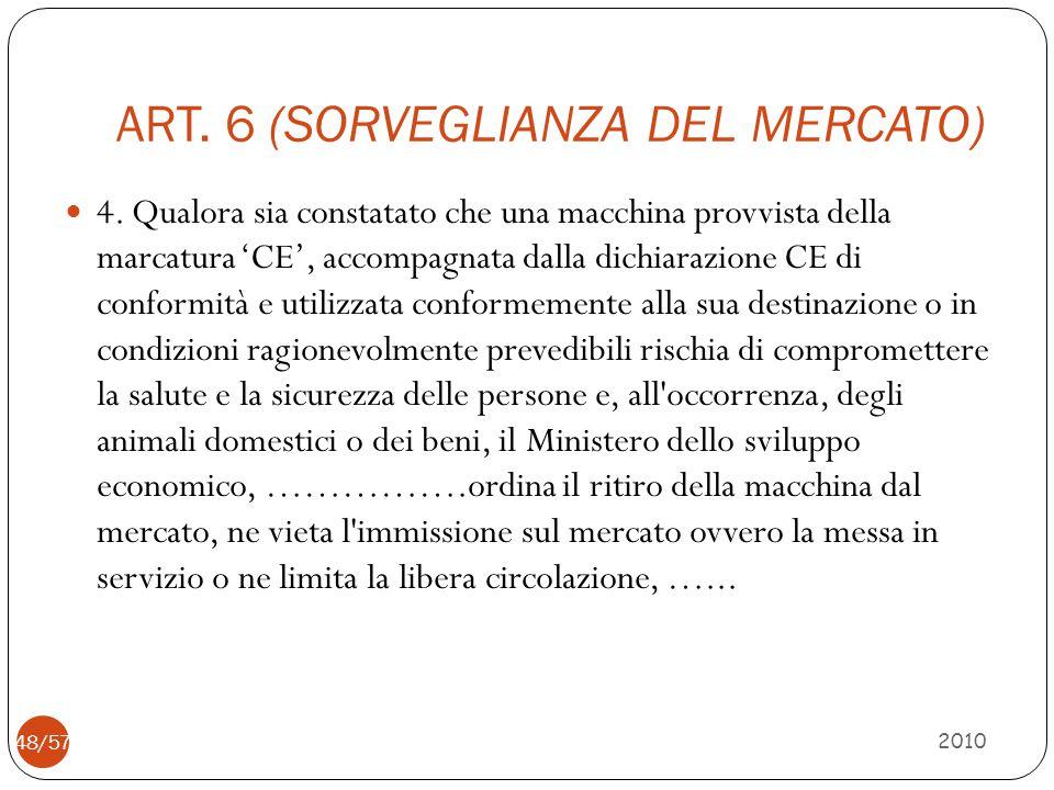 ART. 6 (SORVEGLIANZA DEL MERCATO) 4. Qualora sia constatato che una macchina provvista della marcatura 'CE', accompagnata dalla dichiarazione CE di co