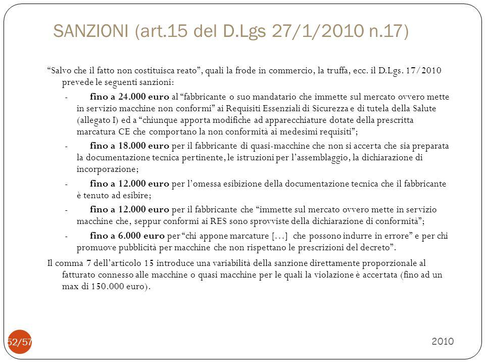 """SANZIONI (art.15 del D.Lgs 27/1/2010 n.17) """"Salvo che il fatto non costituisca reato"""", quali la frode in commercio, la truffa, ecc. il D.Lgs. 17/2010"""