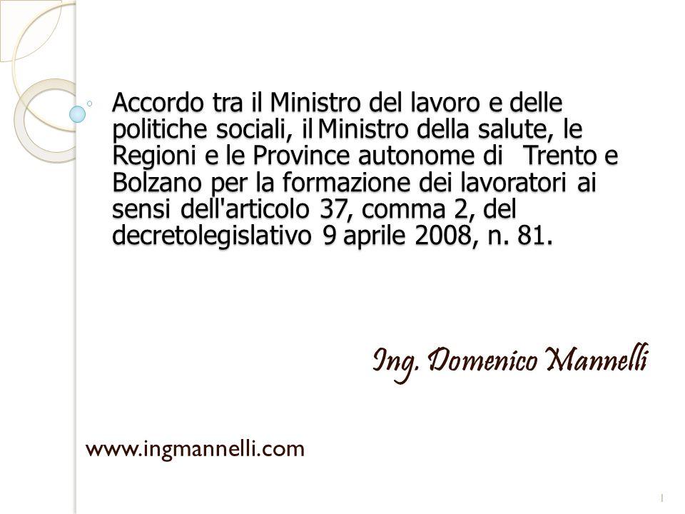 Accordo tra il Ministro del lavoro e delle politiche sociali, ilMinistro della salute, le Regioni e le Province autonome di Trento e Bolzano per la fo