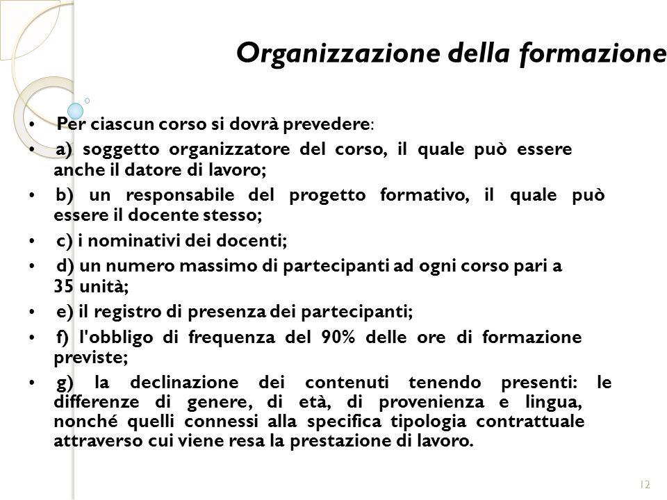 Organizzazione della formazione Per ciascun corso si dovrà prevedere: a) soggetto organizzatore del corso, il quale può essere anche il datore di lavo