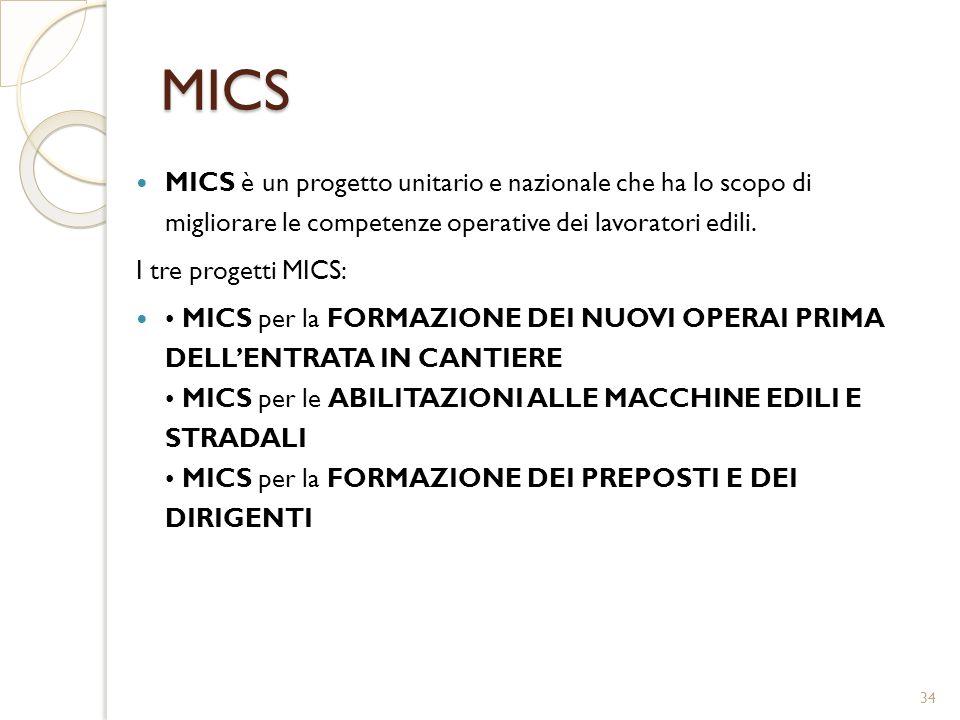 MICS MICS è un progetto unitario e nazionale che ha lo scopo di migliorare le competenze operative dei lavoratori edili. I tre progetti MICS: MICS per