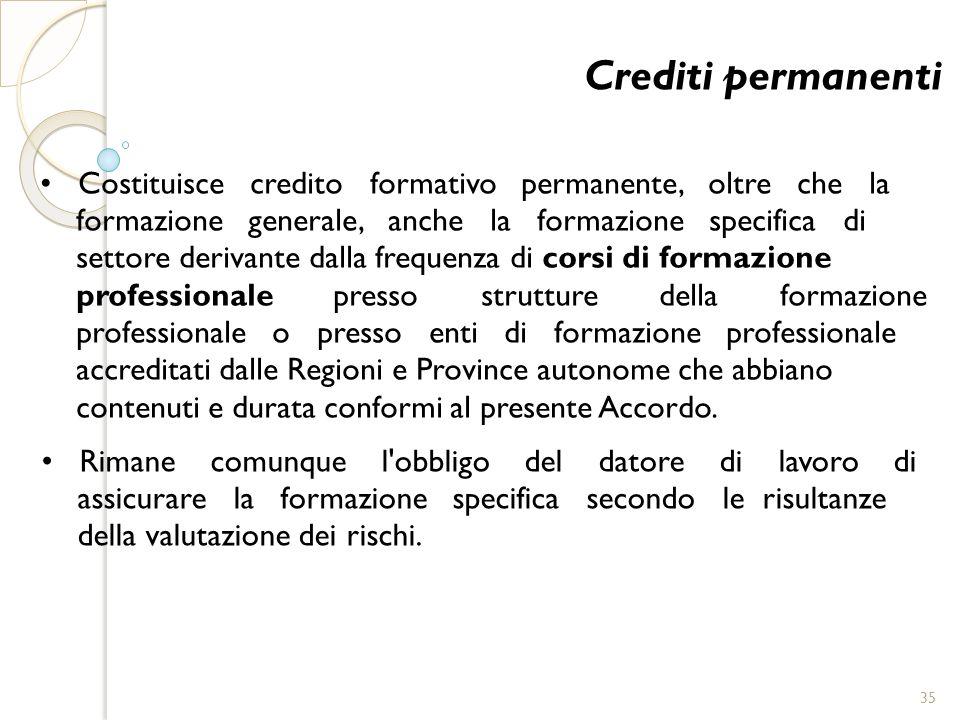 Crediti permanenti Costituisce credito formativo permanente, oltre che la formazione generale, anche la formazione specifica di settore derivante dall