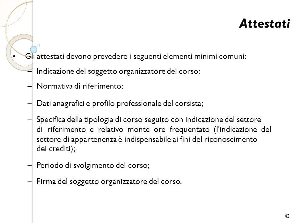 Attestati Gli attestati devono prevedere i seguenti elementi minimi comuni: – Indicazione del soggetto organizzatore del corso; – Normativa di riferim