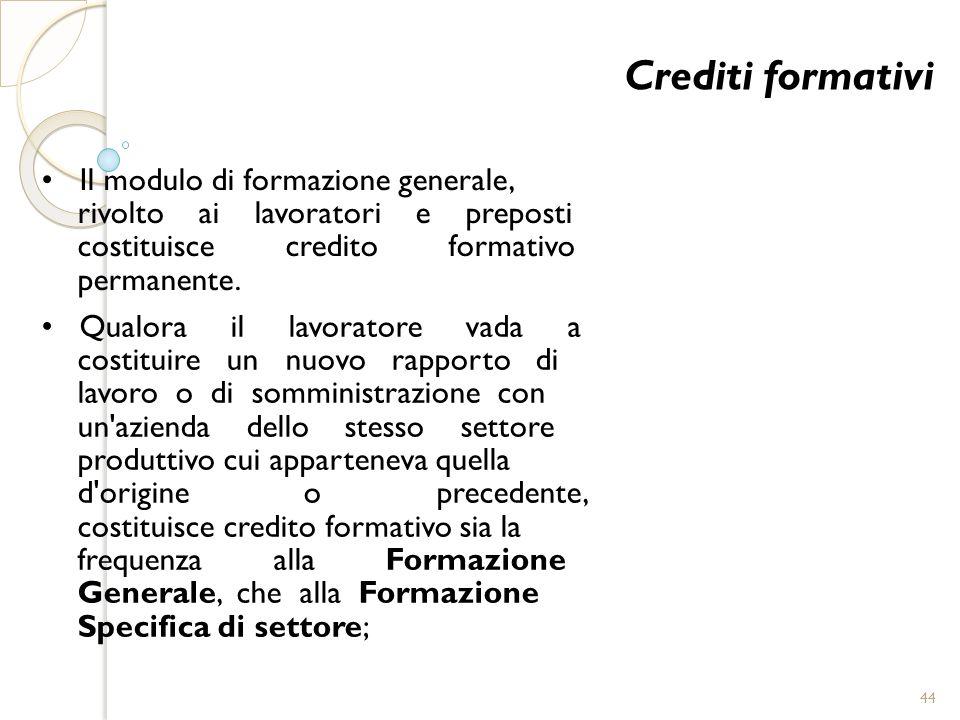 Crediti formativi Il modulo di formazione generale, rivolto ai lavoratori e preposti costituisce credito formativo permanente. Qualora il lavoratore v