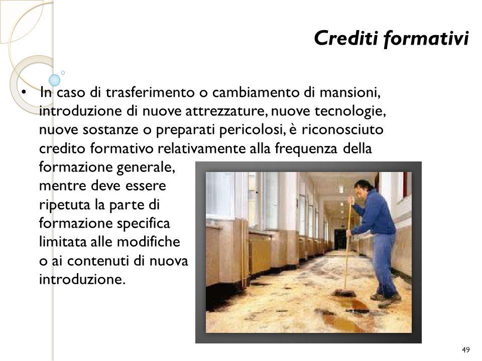 Crediti formativi In caso di trasferimento o cambiamento di mansioni, introduzione di nuove attrezzature, nuove tecnologie, nuove sostanze o preparati