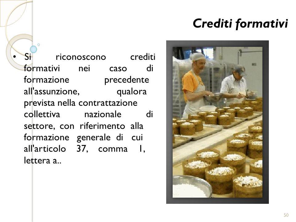 Crediti formativi Si riconoscono crediti formativi nei caso di formazione precedente all'assunzione, qualora prevista nella contrattazione collettiva