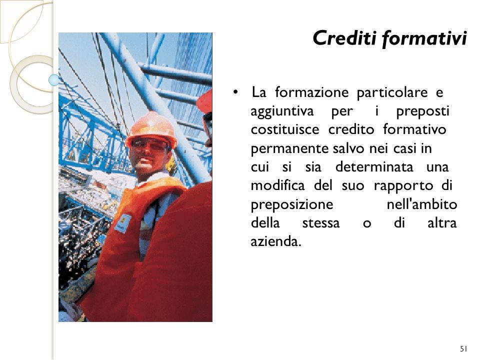 Crediti formativi La formazione particolare e aggiuntiva per i preposti costituisce credito formativo permanente salvo nei casi in cui si sia determin