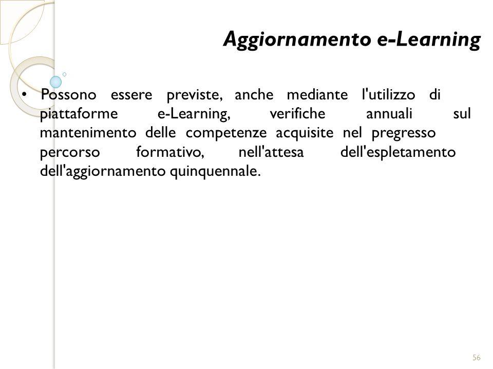 Aggiornamento e-Learning Possono essere previste, anche mediante l'utilizzo di piattaforme e-Learning, verifiche annuali sul mantenimento delle compet
