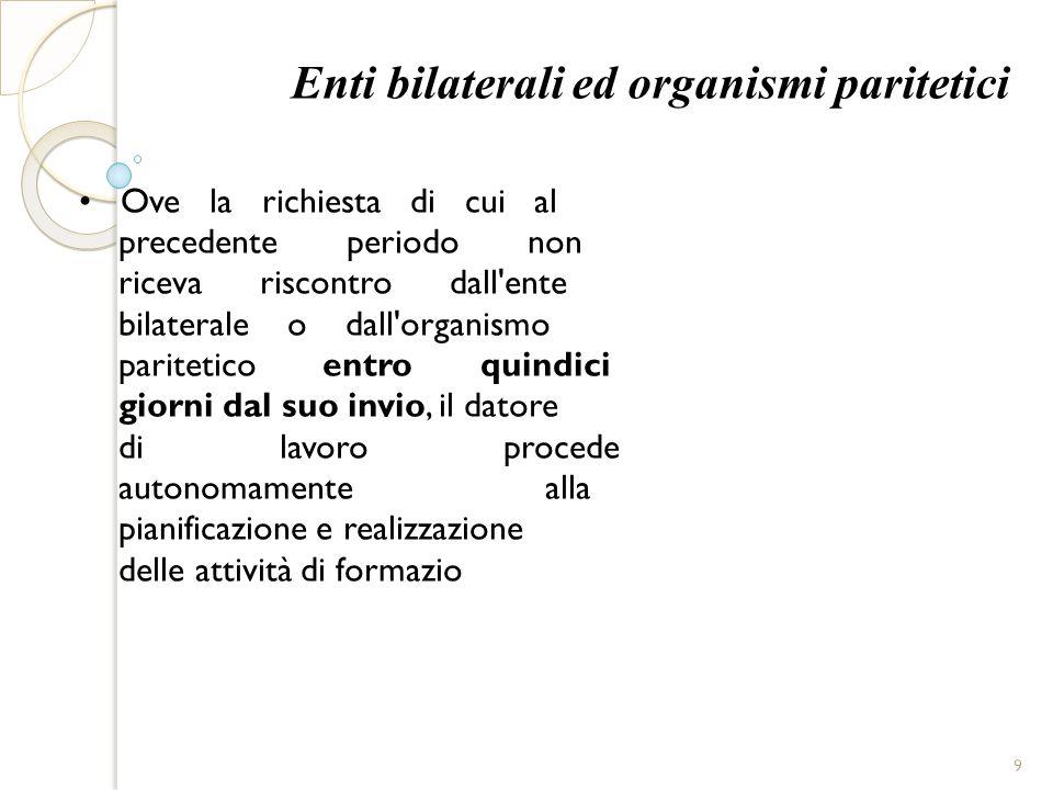 Enti bilaterali ed organismi paritetici Ove la richiesta di cui al precedente periodo non riceva riscontro dall'ente bilaterale o dall'organismo parit