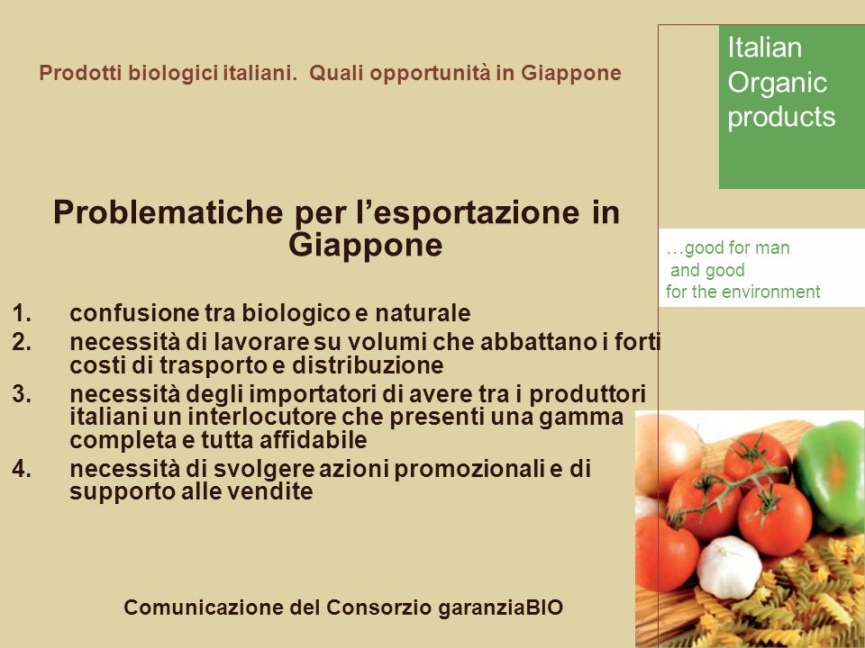 Italian Organic products... good for man and good for the environment Prodotti biologici italiani. Quali opportunità in Giappone Problematiche per l'e