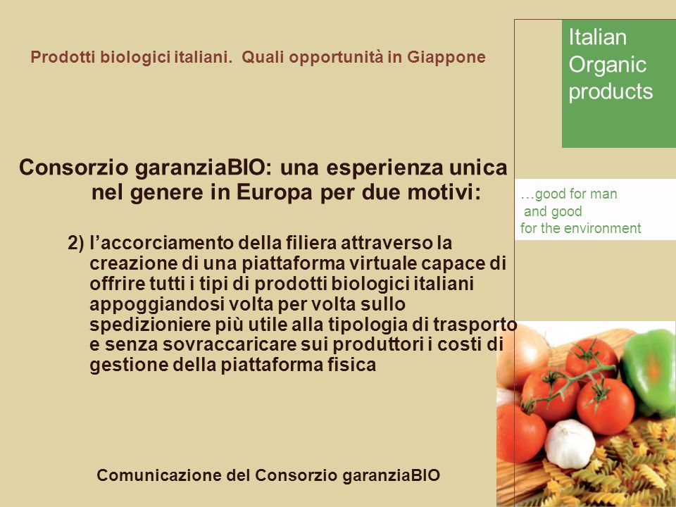 Italian Organic products... good for man and good for the environment Prodotti biologici italiani.