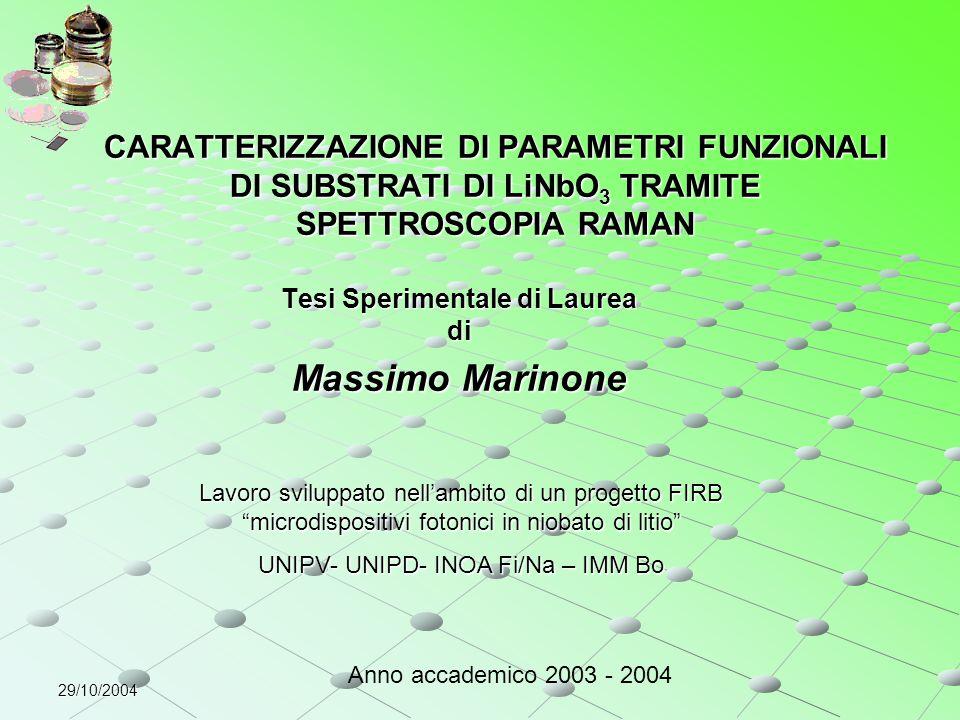 29/10/2004 CARATTERIZZAZIONE DI PARAMETRI FUNZIONALI DI SUBSTRATI DI LiNbO 3 TRAMITE SPETTROSCOPIA RAMAN Tesi Sperimentale di Laurea di Massimo Marino