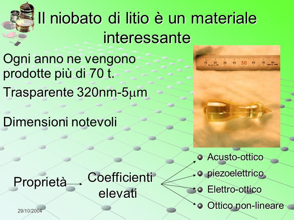 29/10/2004 Il niobato di litio è un materiale interessante Trasparente 320nm-5  m Dimensioni notevoli Proprietà Coefficienti elevati piezoelettrico O
