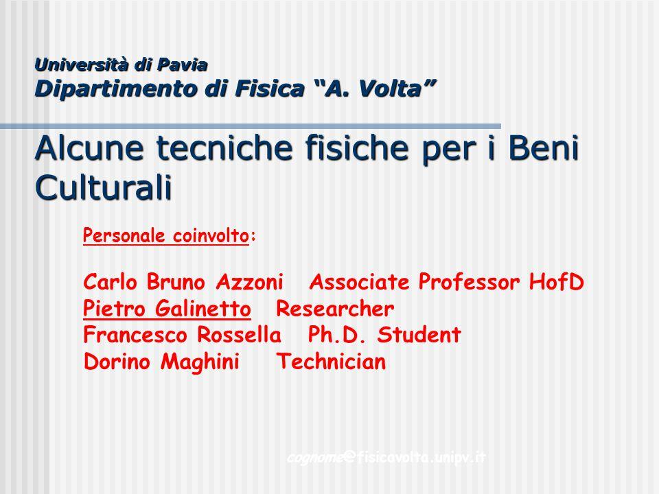 """Università di Pavia Dipartimento di Fisica """"A. Volta"""" Alcune tecniche fisiche per i Beni Culturali Personale coinvolto: Carlo Bruno AzzoniAssociate Pr"""