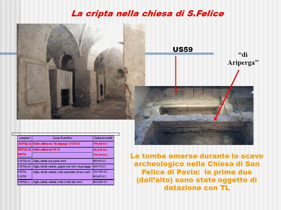 La cripta nella chiesa di S.Felice Le tombe emerse durante lo scavo archeologico nella Chiesa di San Felice di Pavia: le prime due (dall'alto) sono state oggetto di datazione con TL di Ariperga US59