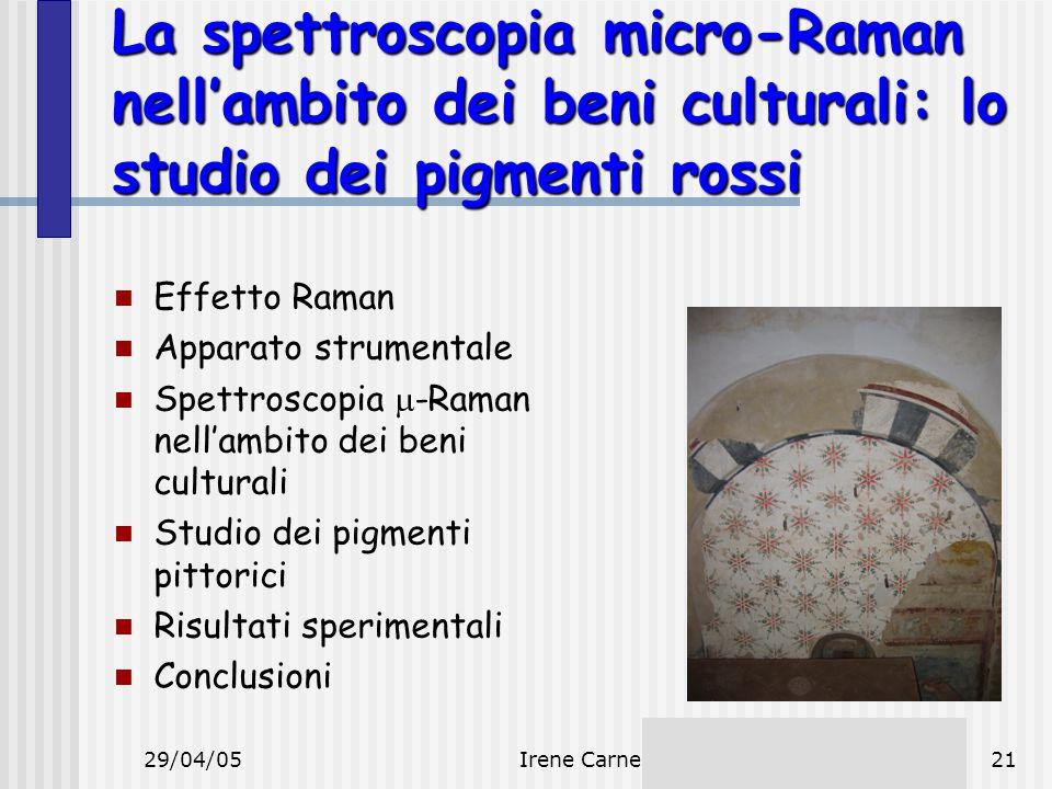 29/04/05Irene Carne21 La spettroscopia micro-Raman nell'ambito dei beni culturali: lo studio dei pigmenti rossi Effetto Raman Apparato strumentale Spe