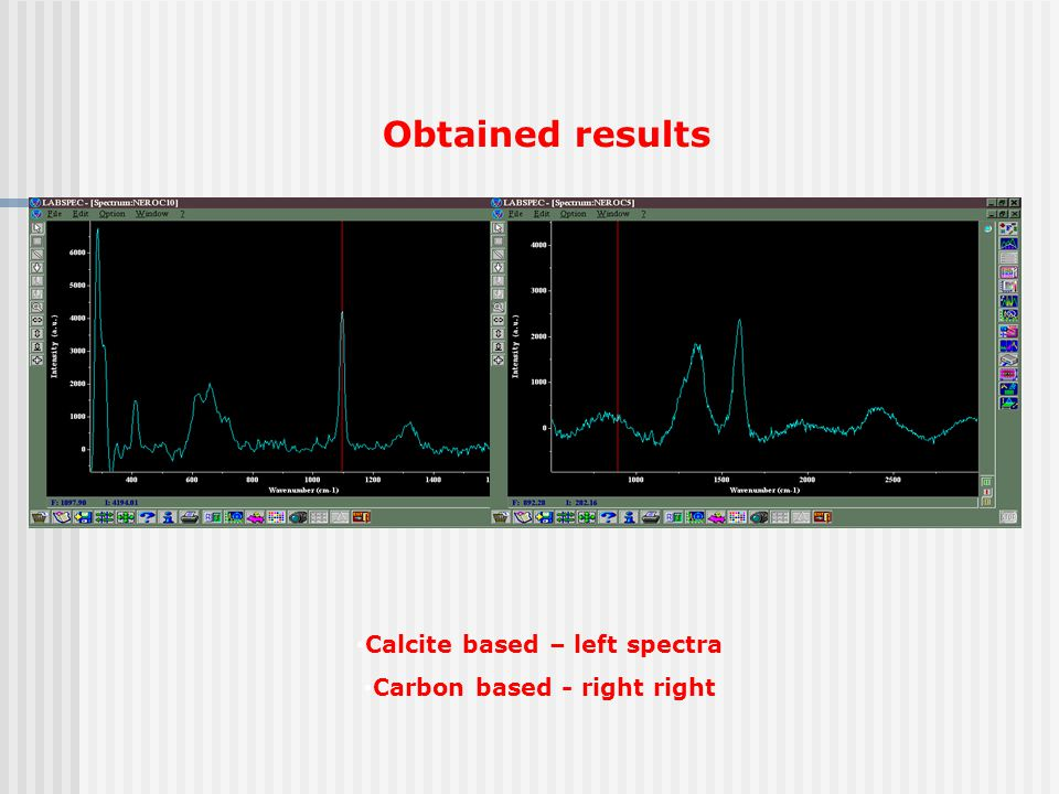 Calcite based – left spectra Carbon based - right right Obtained results