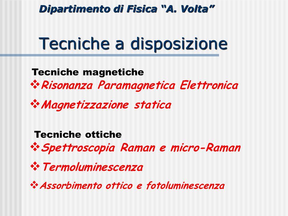 """Dipartimento di Fisica """"A. Volta"""" Tecniche a disposizione  Risonanza Paramagnetica Elettronica  Magnetizzazione statica  Spettroscopia Raman e micr"""