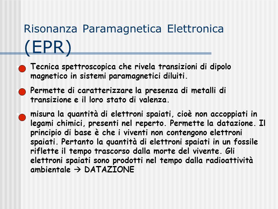 Risonanza Paramagnetica Elettronica (EPR) Tecnica spettroscopica che rivela transizioni di dipolo magnetico in sistemi paramagnetici diluiti. Permette
