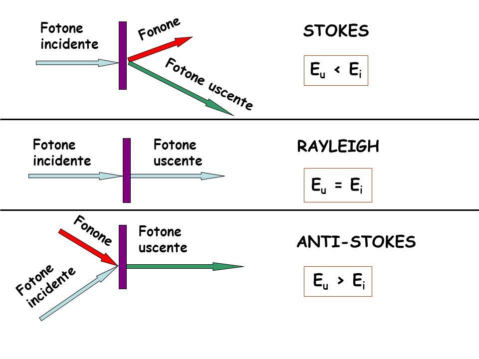 DIFFUSIONE RAMAN Intensità Raman ≈ 10 -8 Intensità Rayleigh Teoria classica: oscillazioni forzate del momento di dipolo indotto StokesAnti-StokesRayleigh