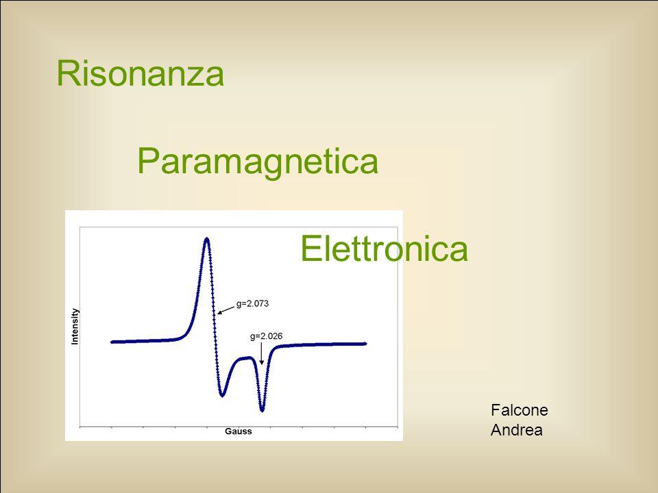 Segnale EPR Forma e larghezza di riga Ottieni informazioni su: tipo di ioni presenti interazioni che caratterizzano il sistema entità campi magnetici disomogenei La riga può essere: Lorentziana  interazione dipolo – dipolo fra spin uguali, interazione con il reticolo Gaussiana  interazioni iperfini non risolte, interazione fra spin diversi, disomogeneità In generale si ha una linea intermedia tra Gaussiana e Lorentziana.