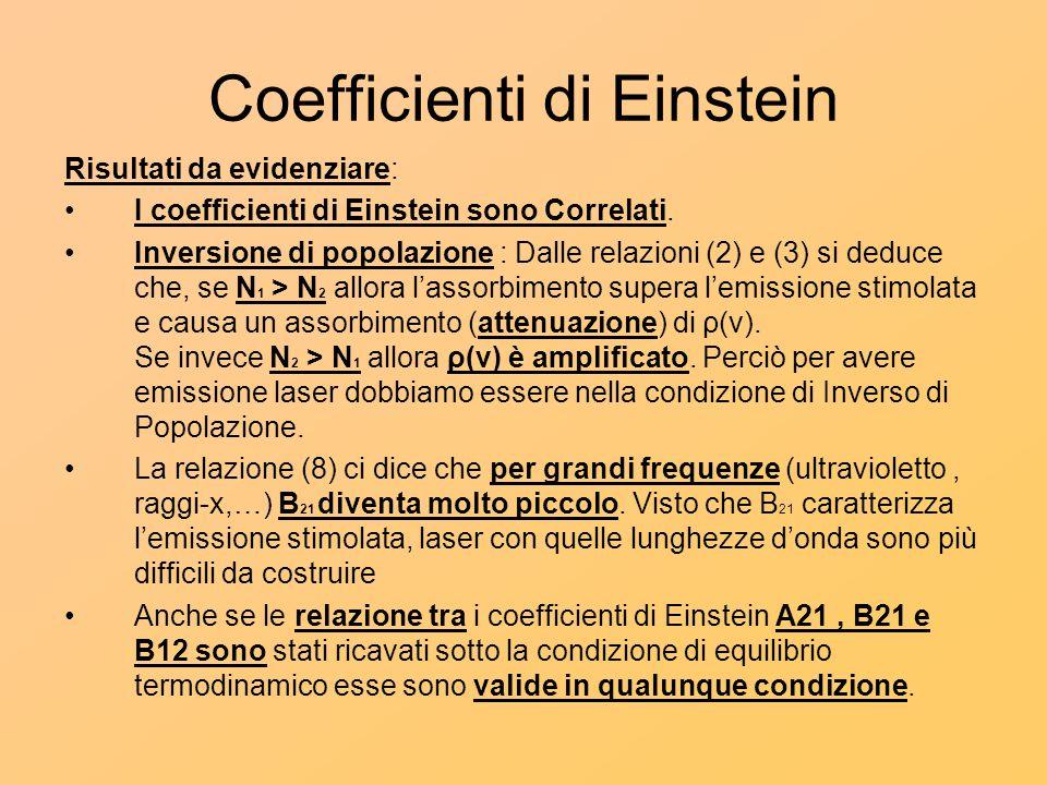 Coefficienti di Einstein Risultati da evidenziare: I coefficienti di Einstein sono Correlati. Inversione di popolazione : Dalle relazioni (2) e (3) si