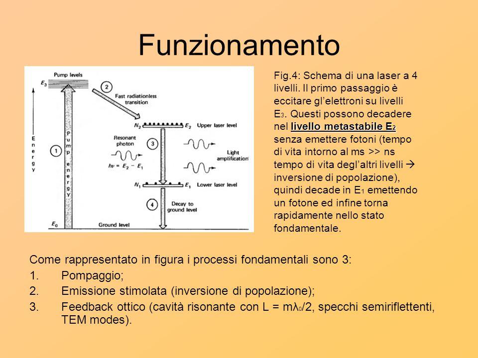 Funzionamento Come rappresentato in figura i processi fondamentali sono 3: 1.Pompaggio; 2.Emissione stimolata (inversione di popolazione); 3.Feedback