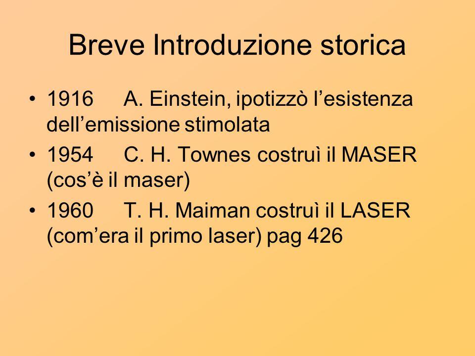 Breve Introduzione storica 1916 A. Einstein, ipotizzò l'esistenza dell'emissione stimolata 1954C. H. Townes costruì il MASER (cos'è il maser) 1960T. H