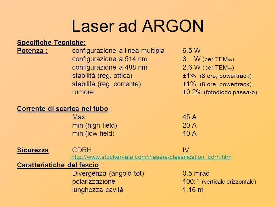 Laser ad ARGON Specifiche Tecniche: Potenza : configurazione a linea multipla6.5 W configurazione a 514 nm3 W (per TEM oo ) configurazione a 488 nm2.6