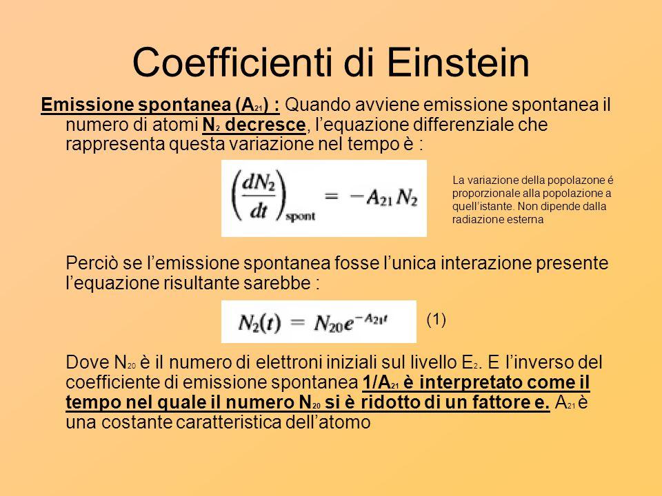 Coefficienti di Einstein Emissione spontanea (A 21 ) : Quando avviene emissione spontanea il numero di atomi N 2 decresce, l'equazione differenziale c