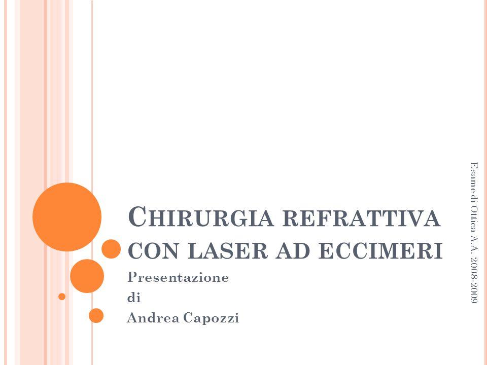 C HIRURGIA REFRATTIVA CON LASER AD ECCIMERI Presentazione di Andrea Capozzi Esame di Ottica A.A. 2008-2009