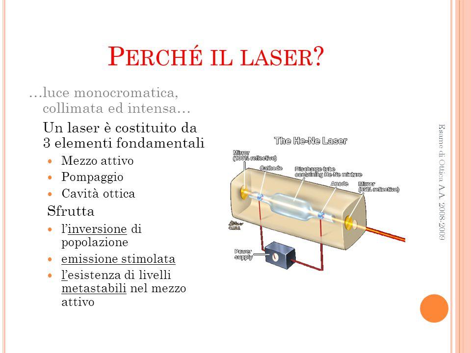 P ERCHÉ IL LASER ? Esame di Ottica A.A. 2008-2009 …luce monocromatica, collimata ed intensa… Un laser è costituito da 3 elementi fondamentali Mezzo at