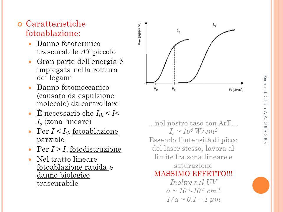 Esame di Ottica A.A. 2008-2009 Caratteristiche fotoablazione: Danno fototermico trascurabile ΔT piccolo Gran parte dell'energia è impiegata nella rott
