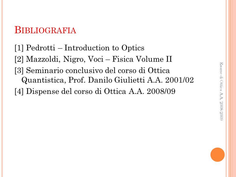 B IBLIOGRAFIA [1] Pedrotti – Introduction to Optics [2] Mazzoldi, Nigro, Voci – Fisica Volume II [3] Seminario conclusivo del corso di Ottica Quantist