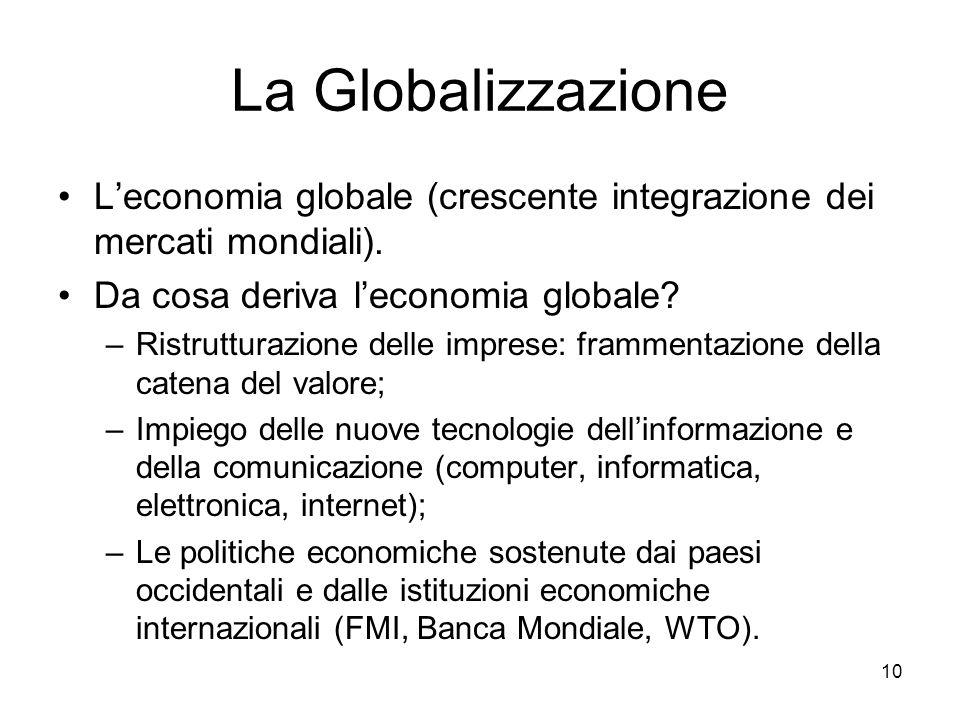 10 La Globalizzazione L'economia globale (crescente integrazione dei mercati mondiali). Da cosa deriva l'economia globale? –Ristrutturazione delle imp