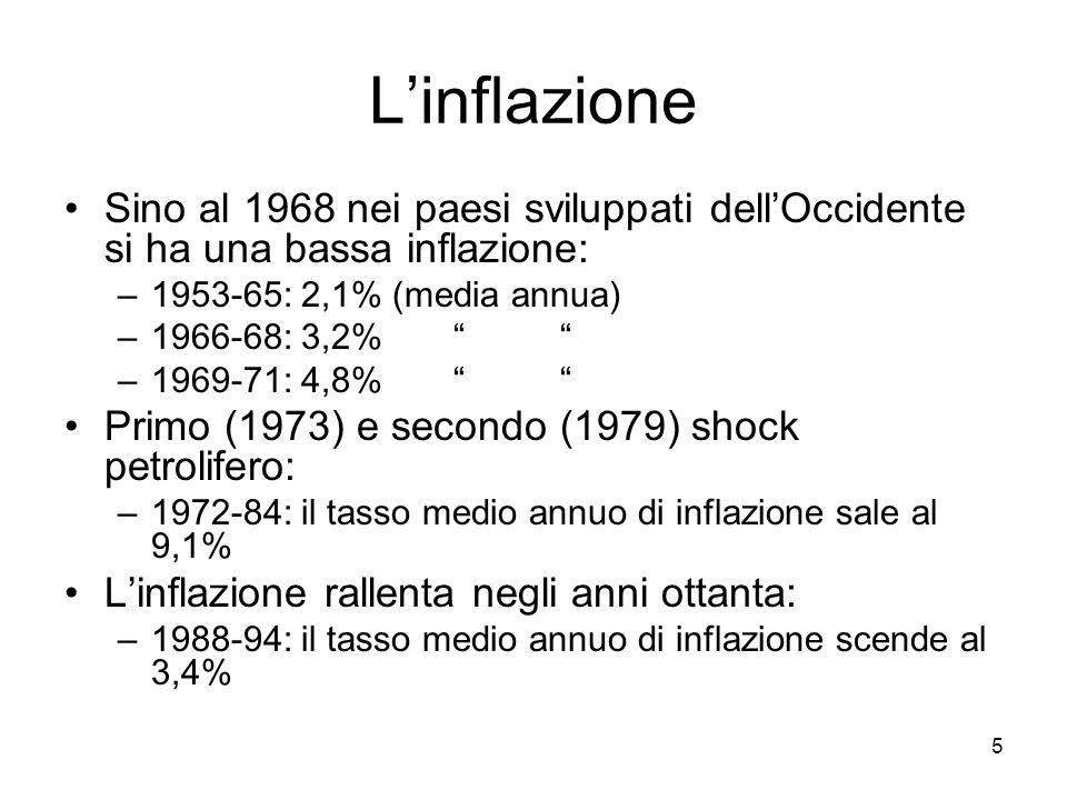 """5 L'inflazione Sino al 1968 nei paesi sviluppati dell'Occidente si ha una bassa inflazione: –1953-65: 2,1% (media annua) –1966-68: 3,2% """" """" –1969-71:"""