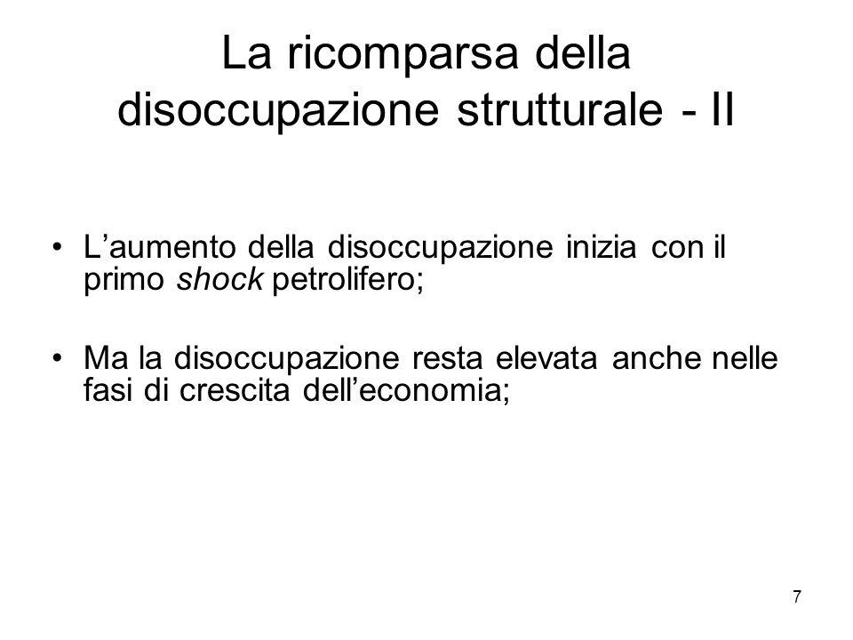 7 La ricomparsa della disoccupazione strutturale - II L'aumento della disoccupazione inizia con il primo shock petrolifero; Ma la disoccupazione resta