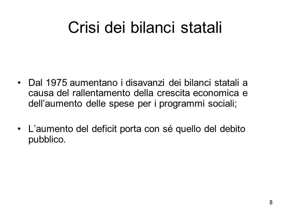 8 Crisi dei bilanci statali Dal 1975 aumentano i disavanzi dei bilanci statali a causa del rallentamento della crescita economica e dell'aumento delle