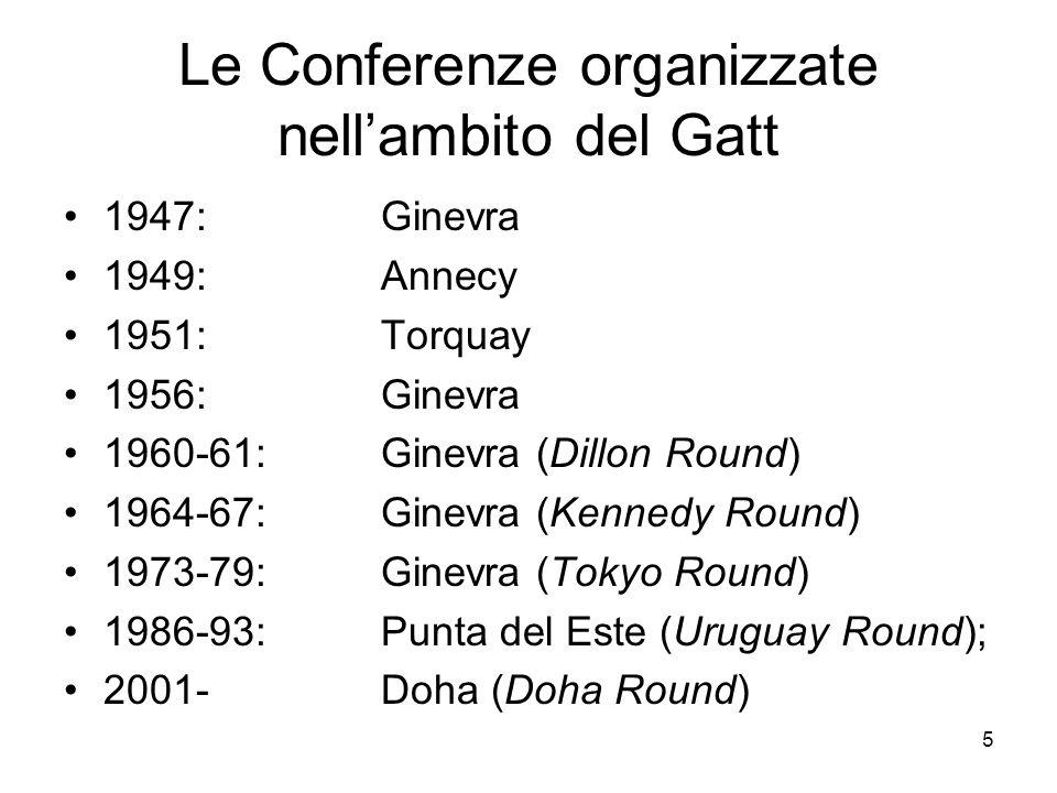 5 Le Conferenze organizzate nell'ambito del Gatt 1947: Ginevra 1949: Annecy 1951: Torquay 1956: Ginevra 1960-61: Ginevra (Dillon Round) 1964-67:Ginevr